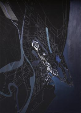 The late Dame Zaha Hadid's Cardiff Bay Opera House - Aerial View Painting