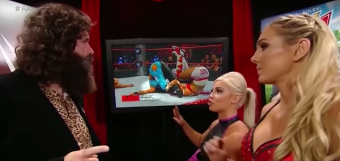 """Dana: """"As you can see, Mr Foley, this position replicates something I could only manage outside of a WWE ring filmed by a bunch of dudes wearing cargo shorts and featuring alongside a male co-star"""""""