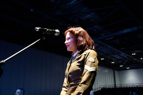 A girl cosplaying as Peggy Carter asks a question from Gjokaj, who plays Daniel Sousa in Agent Carter.