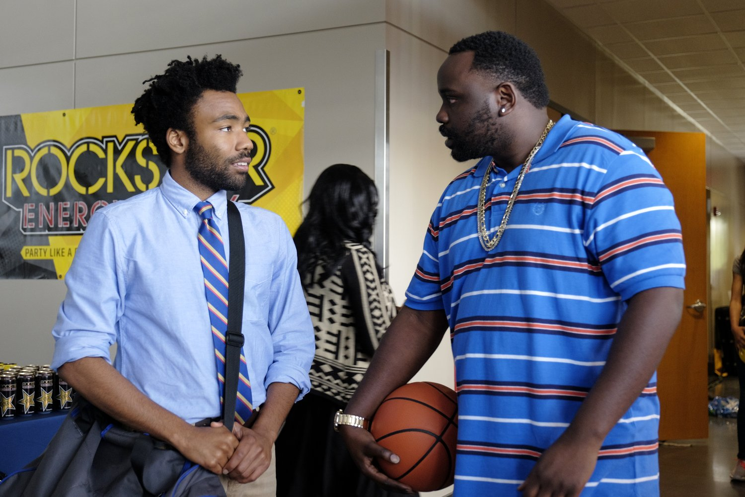"""Earn (Glover) and Alfred (Tyree Henry) in the episode """"Nobody Beats the Biebs"""". Courtesy of FOX."""