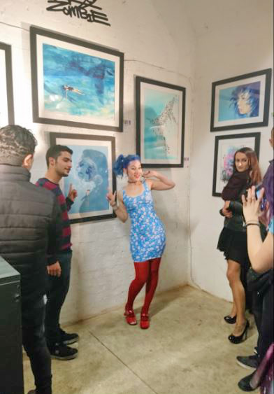 Photo taken by myself | Lora Zombie @ Underdog Gallery with fans.