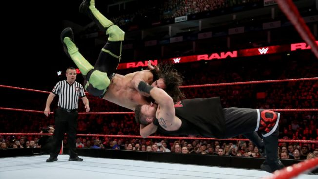 Seth Rollins delivers the blockbuster to Kevin Owens