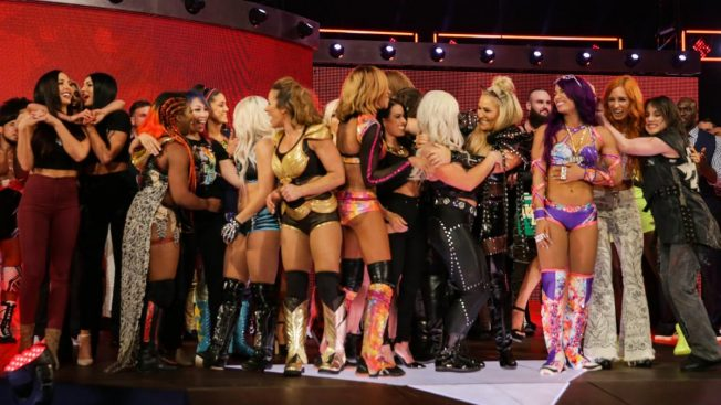 The WWE women celebrate the PPV announcement