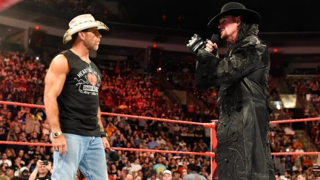 Shawn Michaels and The Undertaker face to face in the ring