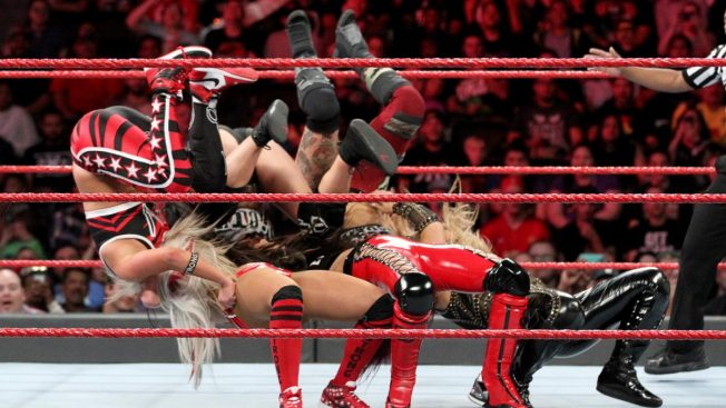 Natalya and The Bella Twins triple-suplex The RIott Squad