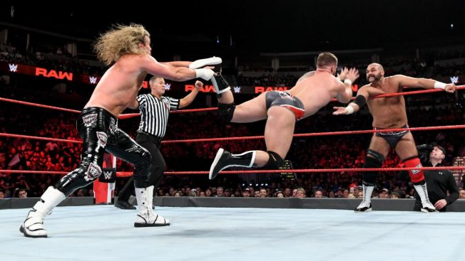 Dolph Zigger tris to stop Dash Wilder tagging Scott Dawson