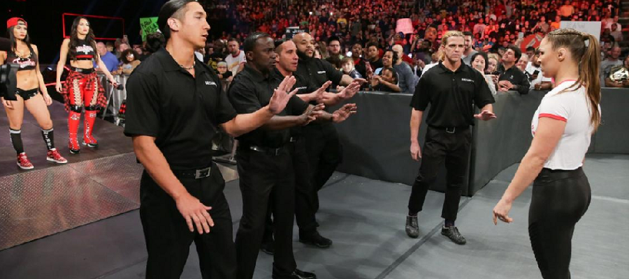 Ronda Rousey takes on the Bella Twins security