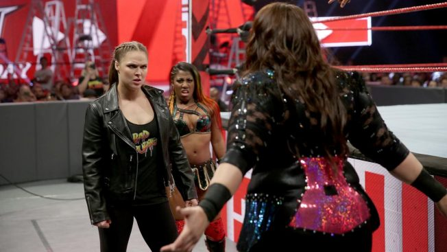 Ronda Rousey and EMber Moon face up to Nia Jax