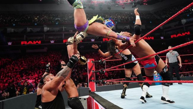 Lucha House Party fly in the tag team four way