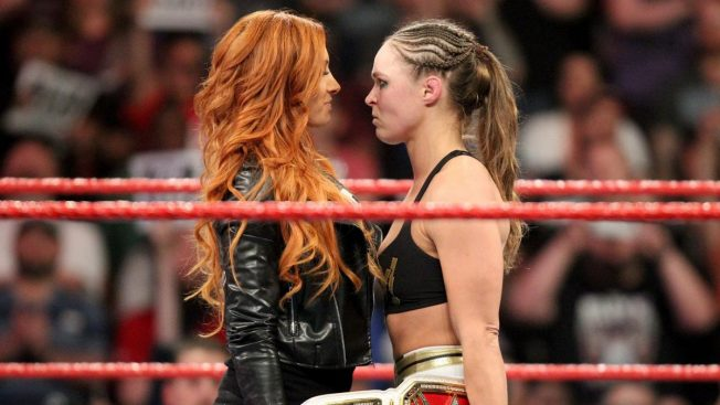 Becky Lynch and Ronda Rousey nose to nose