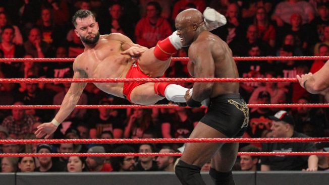Finn Balor enziguri to Bobby Lashley