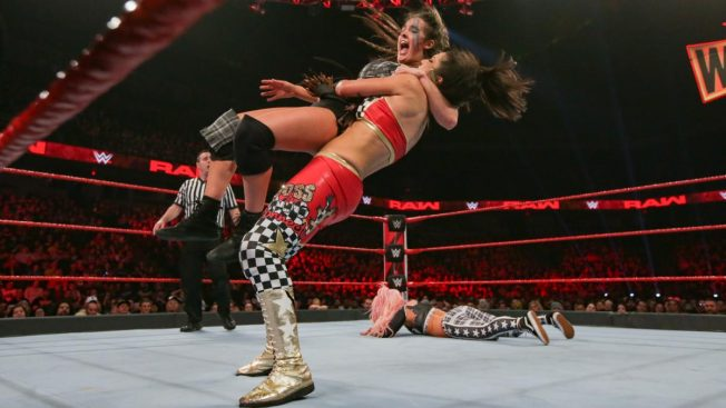 Bayley suplexes Sarah Logan