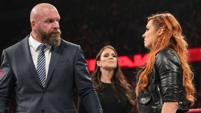 Triple H, Becky Lynch, and Stephanie McMahon