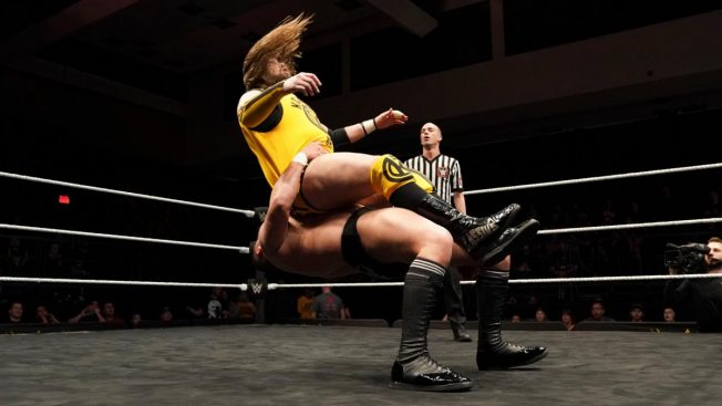 WALTER hits Ohno with a German Suplex