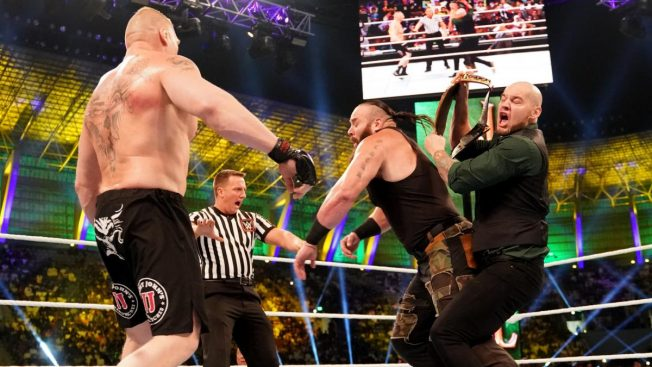 Braun is hit in the back by Baron Corbin