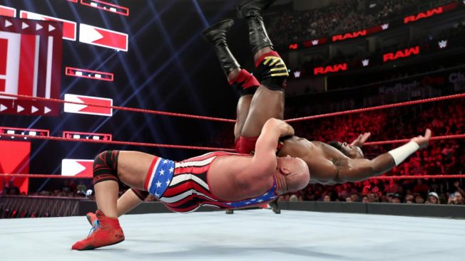 Kurt Angle suplexes Apollo Crews