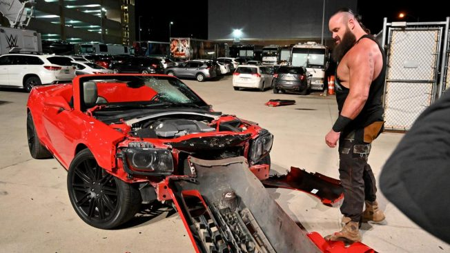Strowman dismantles a car