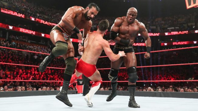 Jinder Mahal and Bobby Lashley double team Finn Balor