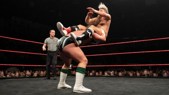 A vicious Powerbomb from Coffey