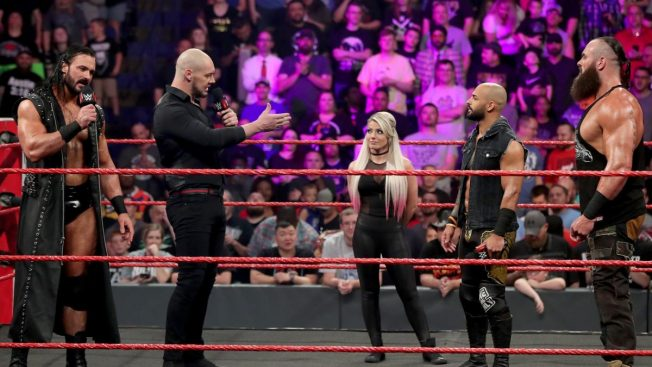 Alexa Bliss with Baron Corbin, Drew McIntyre, Ricochet, and Braun Strowman