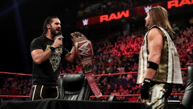 Seth Rollins and AJ Styles face to face