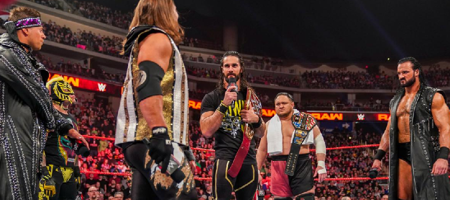 Seth Rollins surrounded by his potential challengers