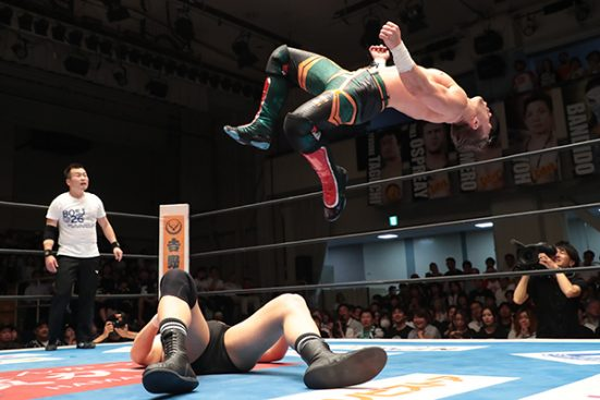 Ospreay delivers an SSP on Narita