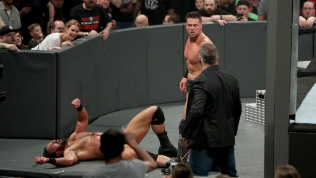 Miz is distracted at ringside by Shane McMahon