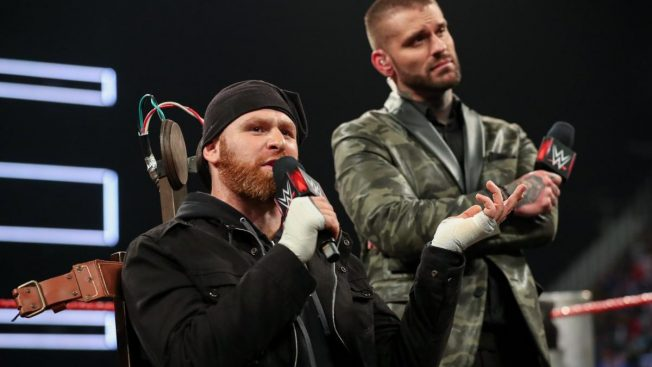 Sami Zayn in the electric chair with Corey Graves