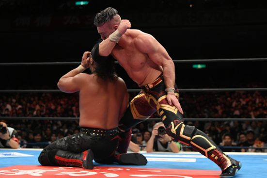 Ospreay uses the hidden blade on Shingo