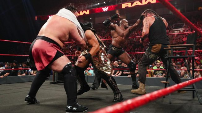 A fight breaks out between Bobby Lashley and Braun Strowman, and between Samoa Joe and The Miz