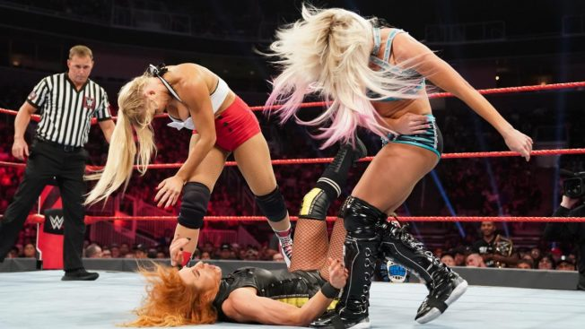 Alexa Bliss and Lacey Evans double team Becky Lynch