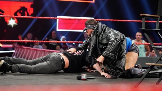 The Miz beats Dolph Ziggler out of the ring