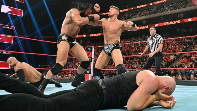 Miz and Drew McIntyre fight with Baron Corbin and Ricochet on the mat