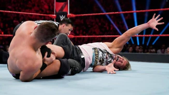 The Miz with Dolph Ziggler in a figure four