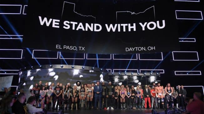 The RAW roster honours the dead of the recent shootings