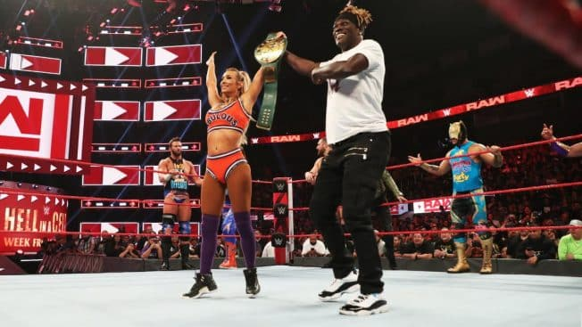 R-Truth congratulates Carmella on pinning him