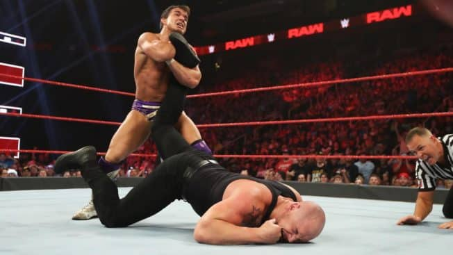 Chad Gable with Baron Corbin in an ankle lock