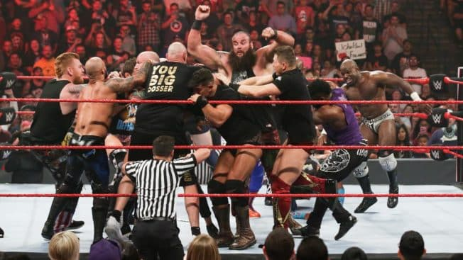 The locker room try to separate Braun Strowman and Tyson Fury
