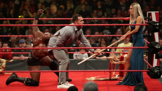 Bobby Lashley low blows Rusev while he's talking to Lana