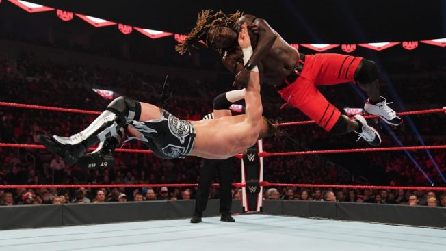 R-Truth and Buddy Murphy in mid air