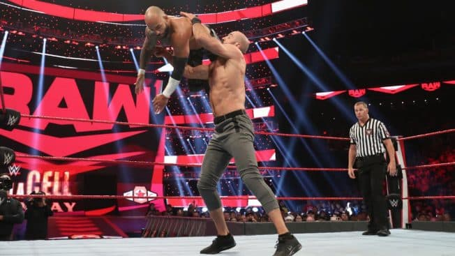 Cesaro with Ricochet in midair