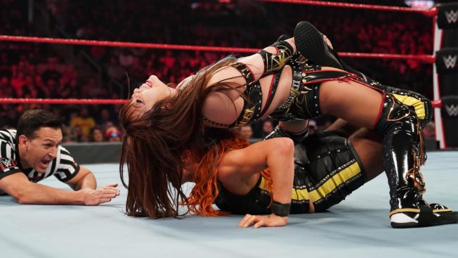 Kairi Sane with Becky Lynch in the Anchor submission