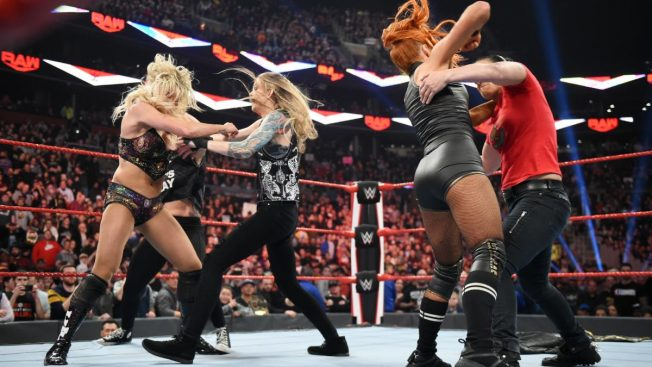 Charlotte Flair and Becky Lynch try to fight off Jessamyn Duke, Marina Shafir, and Shayna Baszler