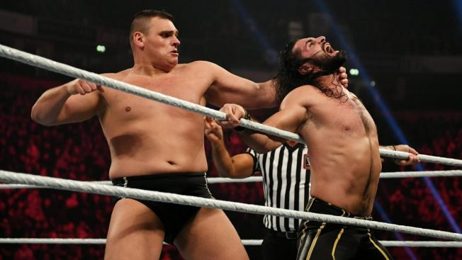 WALTER about to chop Seth Rollins