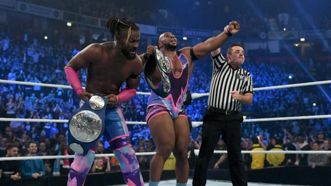 The New Day celebrating their title win over the Revival