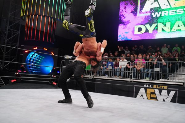 Jon Moxley plants Trent with a high angle Paradigm Shift